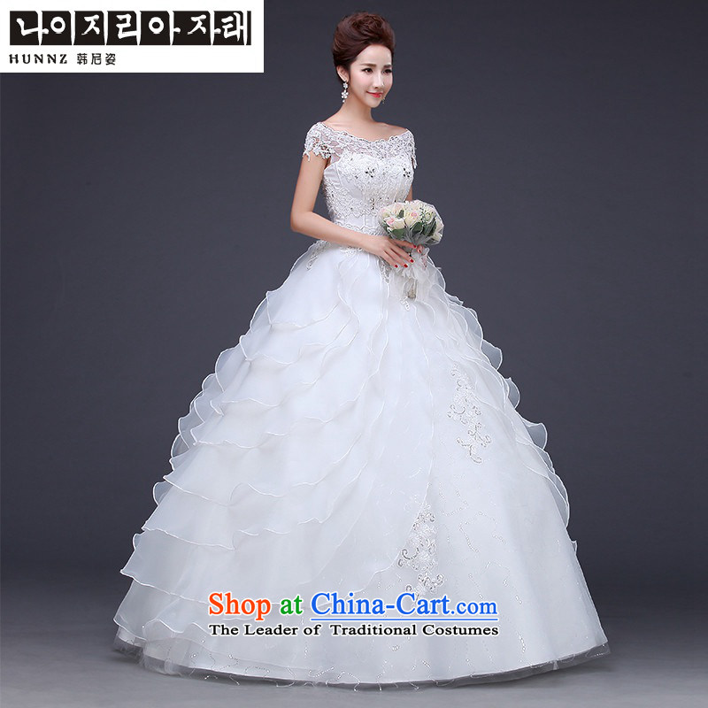2015 Fashion straps HANNIZI OSCE root word yarn shoulder length of large Sau San bride wedding White?M