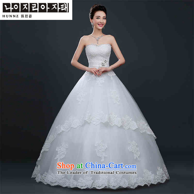 Hannizi 2015 stylish and simple large Sau San straps to erase the princess of chest Skirt holding bride wedding White M