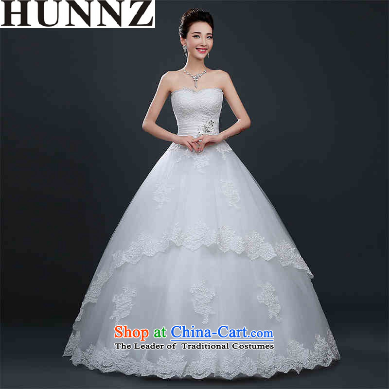 The tie with 2015 HUNNZ chest OSCE root yarn bride white marriage wedding dress shoring Princess Korean minimalist white?L)