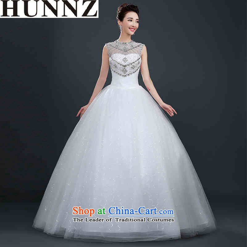 Hunnz straps 2015 stylish and simple word   Large shoulder Korean bon bon skirt bride wedding white L