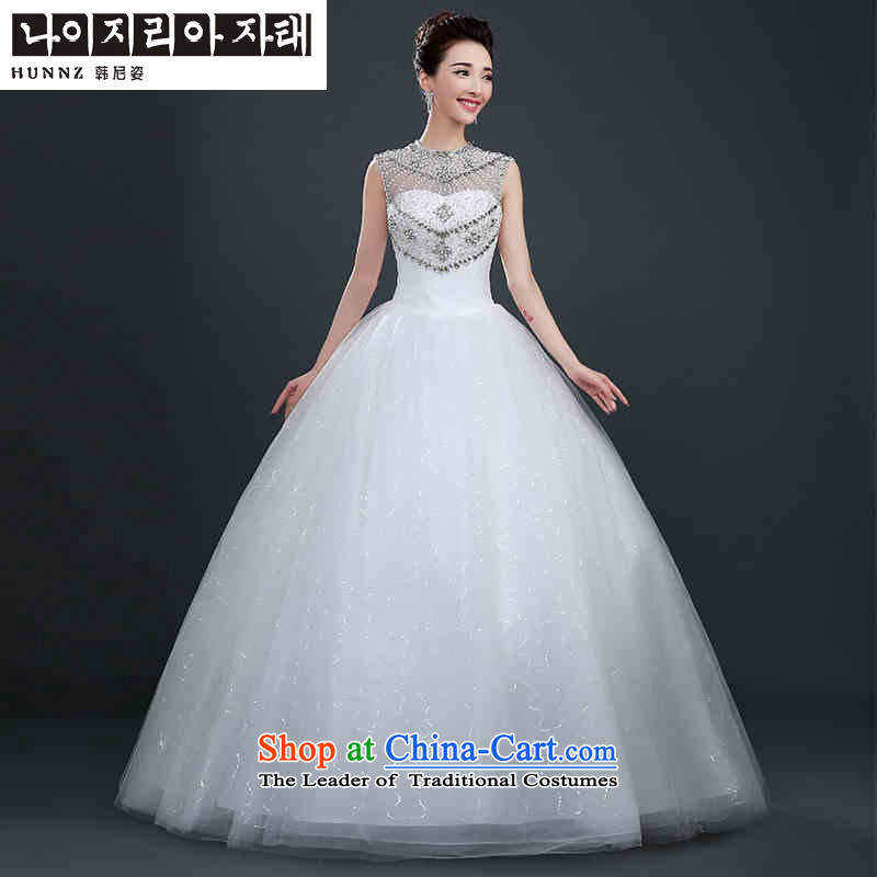 Hannizi 2015 stylish and simple Sau San Tie Korean word shoulder the yarn bon bon skirt bride wedding White?XXL