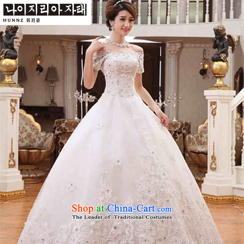 Hannizi 2015 stylish and simple large Sau San Korean word shoulder sleeveless Princess Bride parties wedding dress White M