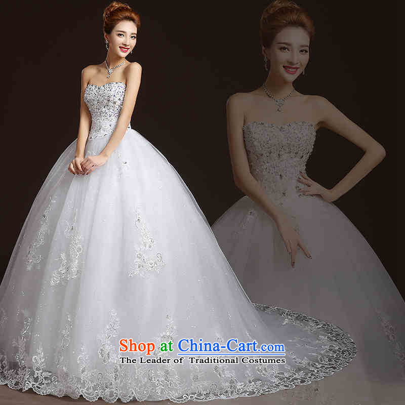 Hunnz long 2015 lace Korean wiping the chest straps sleeveless white bride wedding is simple and stylish white�M