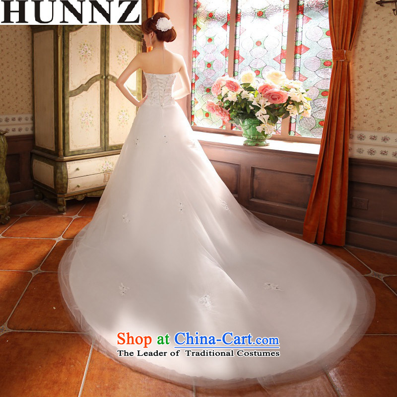Hunnz long gauze 2015 wiping the chest straps small red tail bride minimalist Sau San wedding white dragging�S