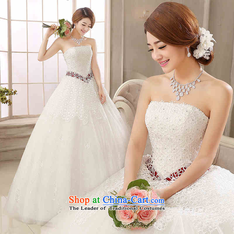 The new 2015 HUNNZ spring and summer Korean bon bon skirt gauze, straps sleeveless anointed chest bride wedding White?XXL