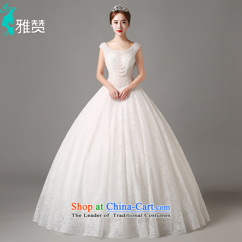 Jacob Chan wedding dresses shoulders to align the new 2015 autumn and winter Korean back pearl lace upscale Korean bon bon skirt white?L