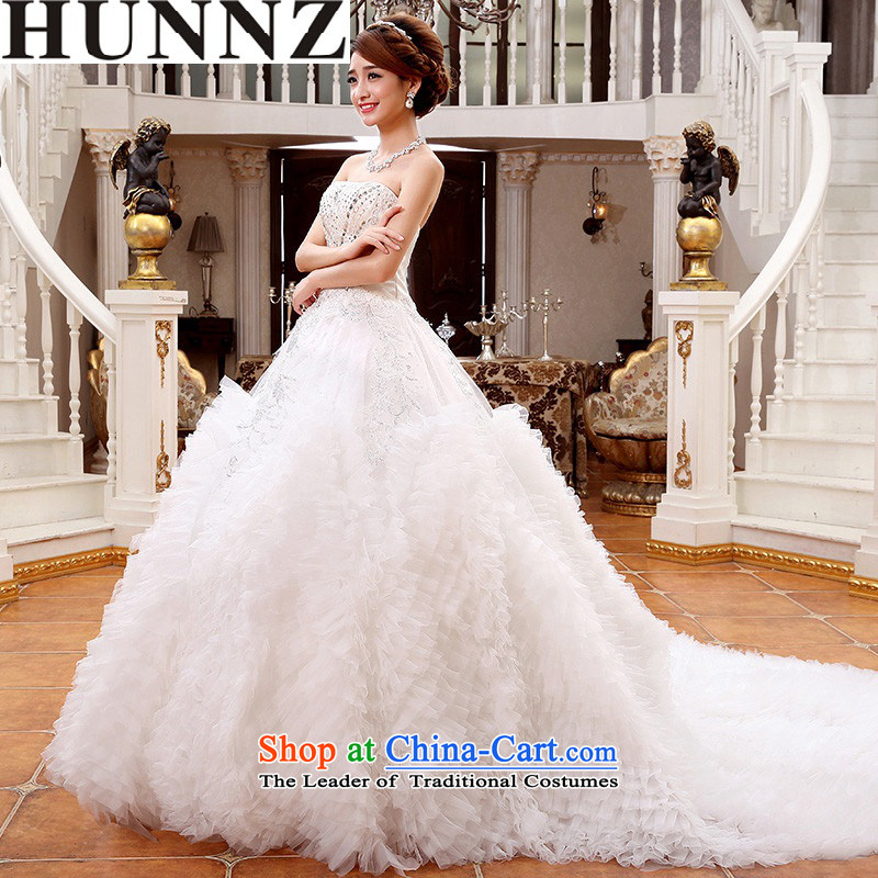 2015 Long wiped HUNNZ chest straps inside the palace small trailing bride wedding white simple and stylish large white?L
