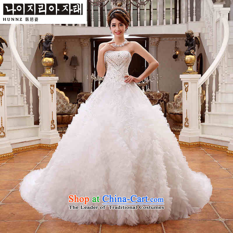 Hannizi 2015 Chic simplicity with large Sau San Chest straps small trailing long bride wedding White?XL