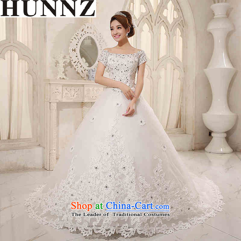 2015 Long ceremony HUNNZ Korean lace strap is simple and stylish bride wedding large white yard White XL