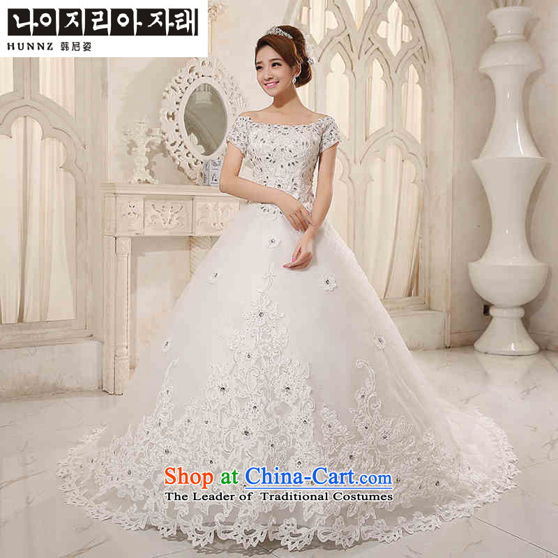 Hannizi 2015 stylish and simple Sau San Korean lace a shoulder straps brides field wedding White?XXL