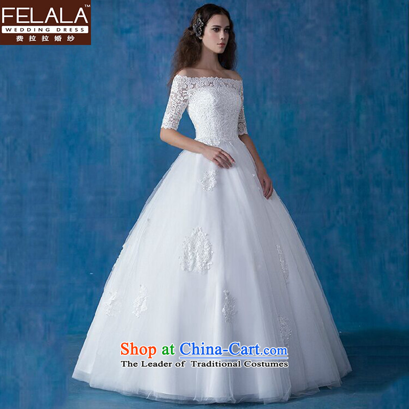 Ferrara wedding word shoulder graphics thin wedding Tail/align to wedding dress winter wedding dresses marriage to align the new bon bon M(2 feet) skirt Ferrara wedding (FELALA) , , , shopping on the Internet