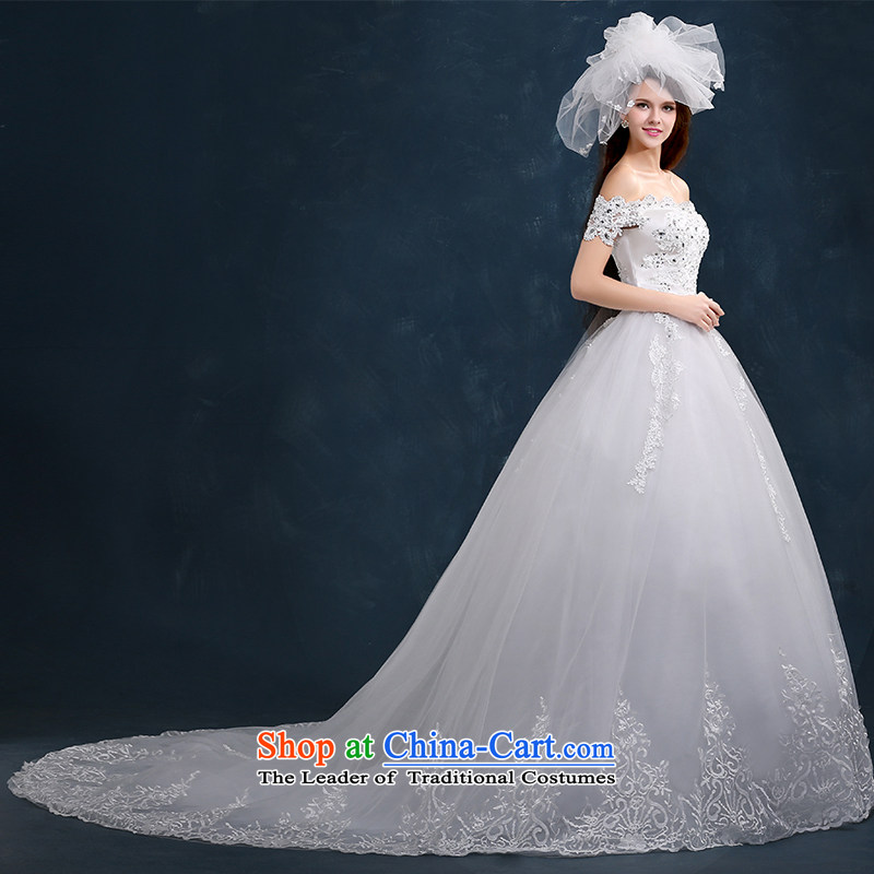 Kidman, 2015 New autumn and winter wedding dress bride slotted shoulder wedding tail wedding lace Diamond Video thin tail Sau San?XXL