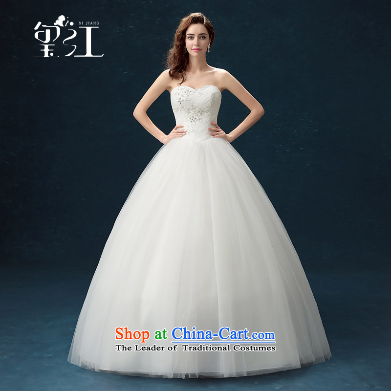 Jiang wedding dresses seal 2015 Winter Korean anointed chest marriages to align yarn bon bon skirt long white, larger Sau San lace diamond wedding female White XL