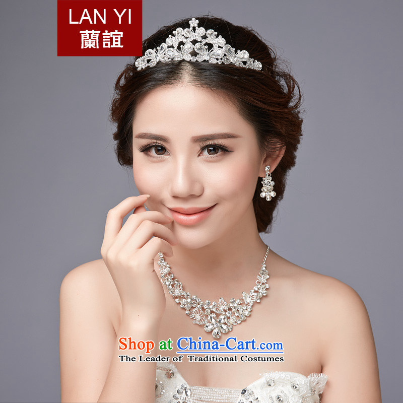 In�2015, Friends bride wedding dresses accessories Korean brides Crown Head Ornaments necklaces, earrings Ear Clip Kits Wedding Dress Accessory Kit 3-piece set