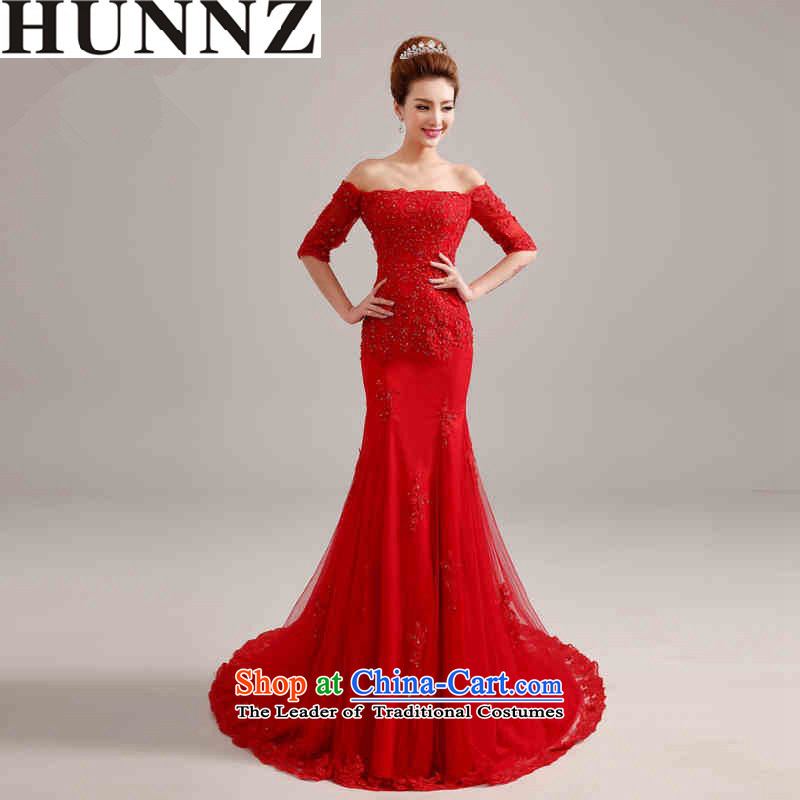 The Word 2015 HUNNZ shoulder Korean small tail red tail to align the bride wedding fashion to align the red?XXL