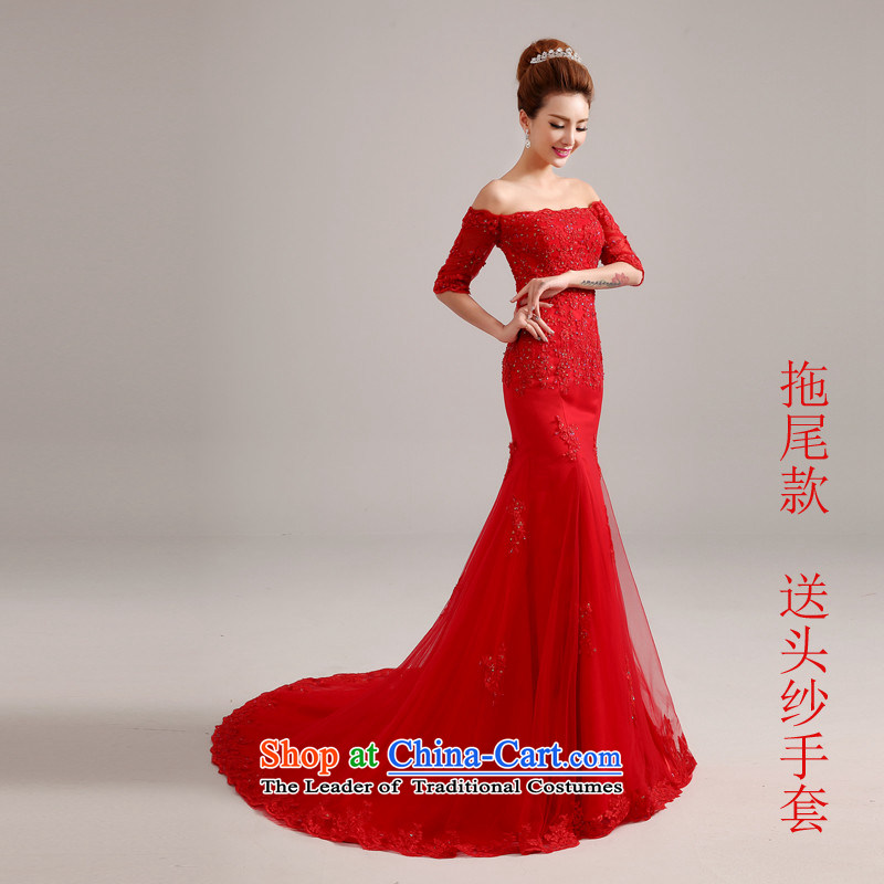 Hannizi 2015 stylish and simple large Sau San tie a small shoulder tail field bride red wedding red tail�M