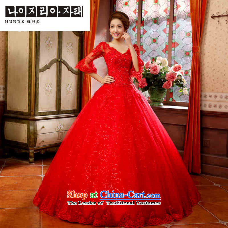 Hannizi 2015 stylish and simple Sau San V-Neck Princess skirt stays simple and stylish bride wedding RED?M
