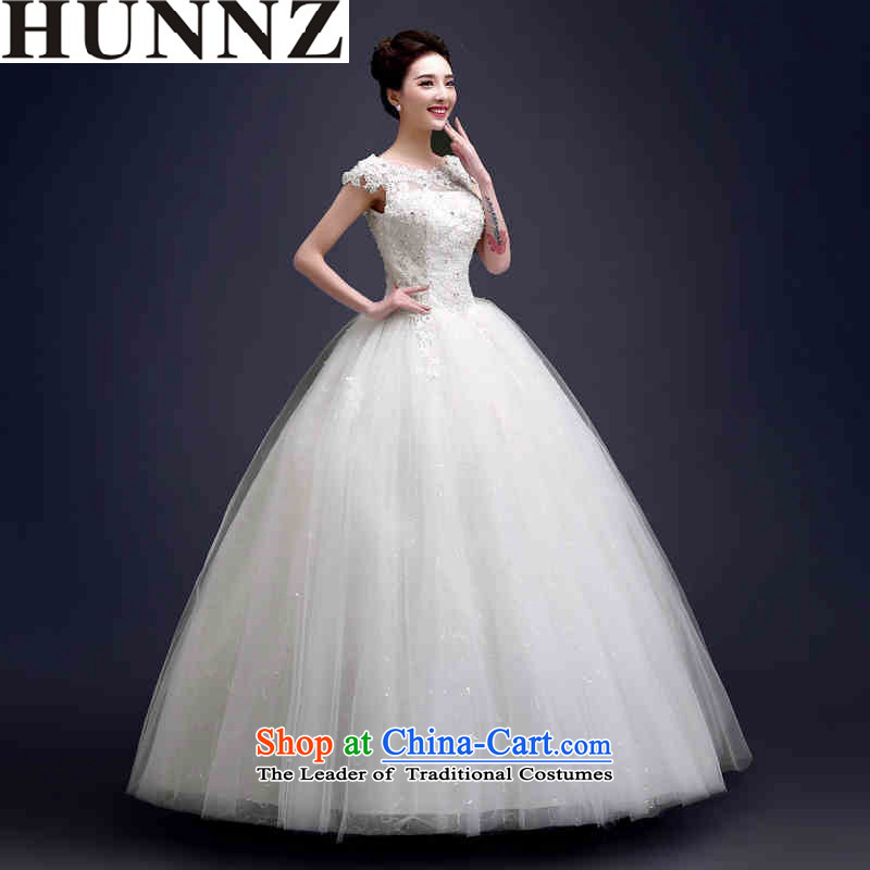 2015 Long one HUNNZ field shoulder Princess Skirt holding Korean style to tie, align the bride wedding White?XL