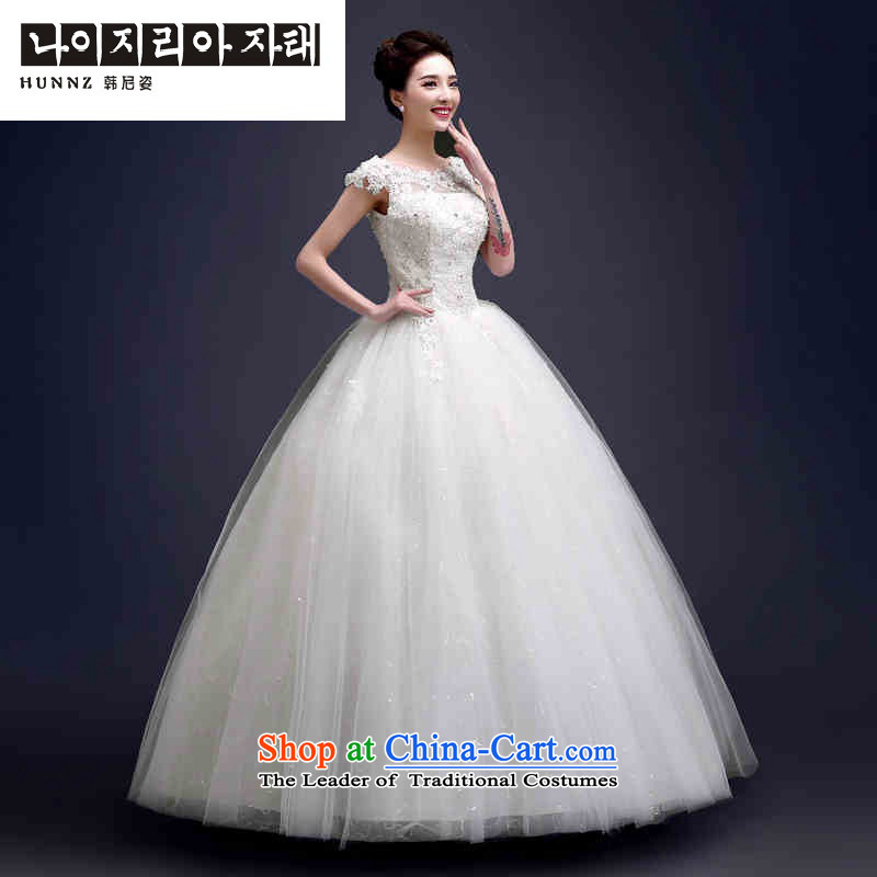 Hannizi 2015 stylish and simple word   Large shoulder Korean Skirt holding a bride her wedding White?M