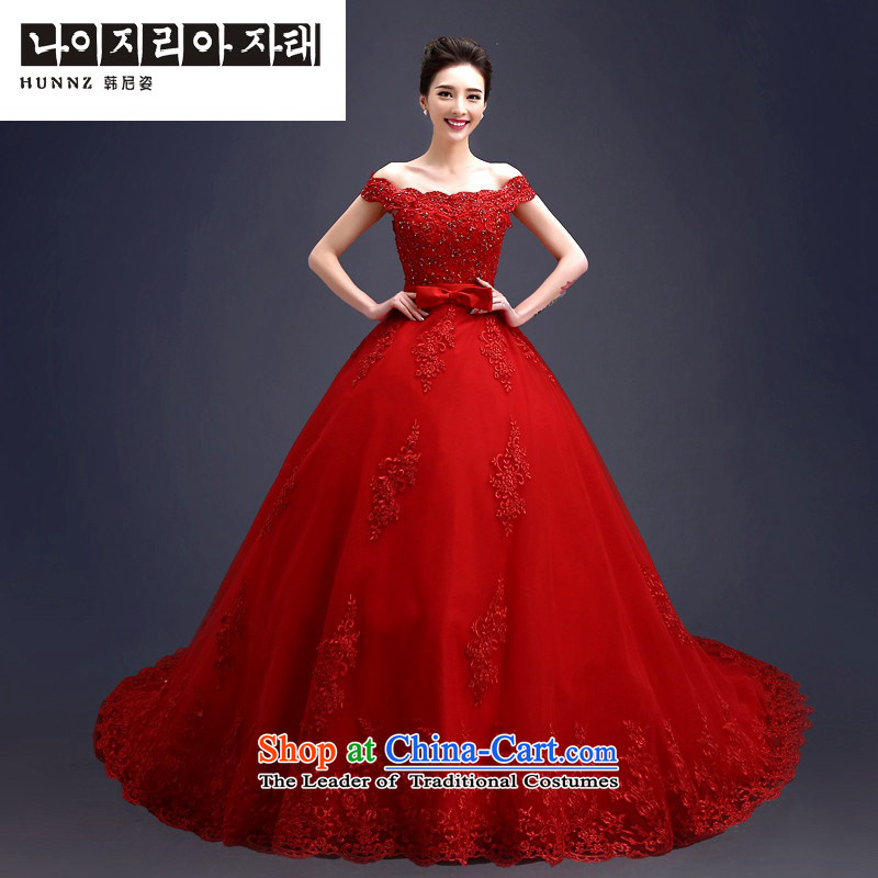 Hannizi 2015 stylish and simple word   Large shoulder Korean Skirt holding a bride her wedding align to?S
