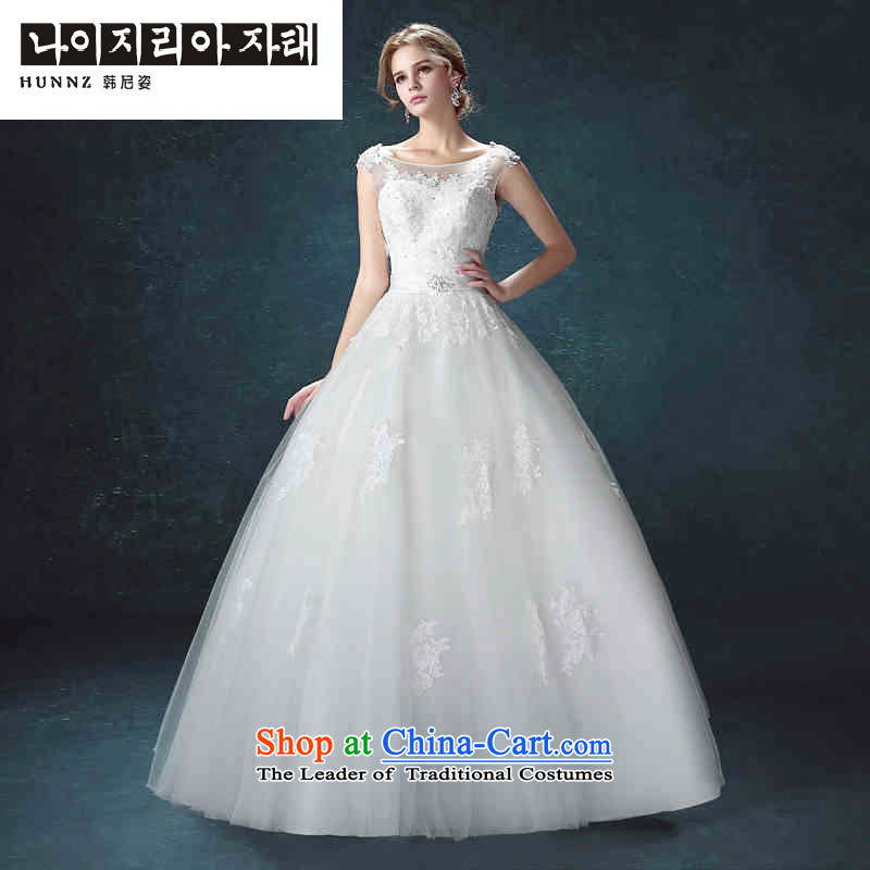 Hannizi 2015 stylish and simple word   Large shoulder palace style white bride wedding White聽XL