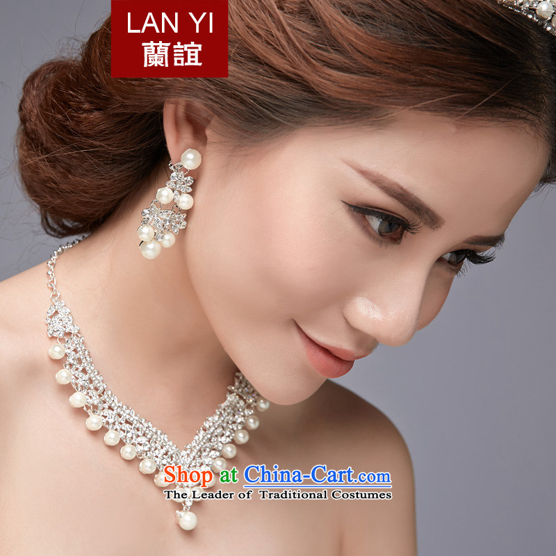 In?2015, the Korean-style Yi new bride Head Ornaments Crown necklace earrings three piece marriage wedding dresses Accessories Kit Ear Clip, necklaces, earrings