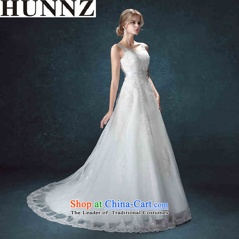 Hunnz long 2015 lace a small shoulder tail field elegant minimalist straps bride wedding White M