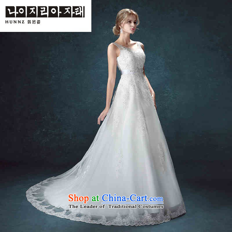 Hannizi 2015 stylish and simple Sau San larger lace word elegant shoulder bride wedding white?L