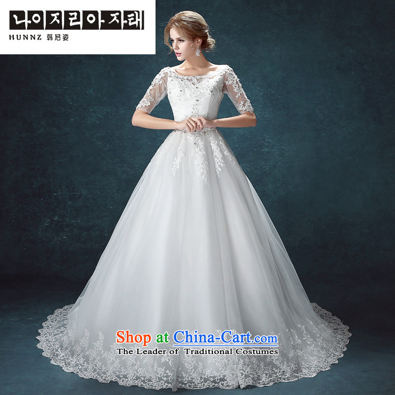 Hannizi 2015 stylish and simple large Sau San Korean word shoulder straps bride wedding to align the White?XL
