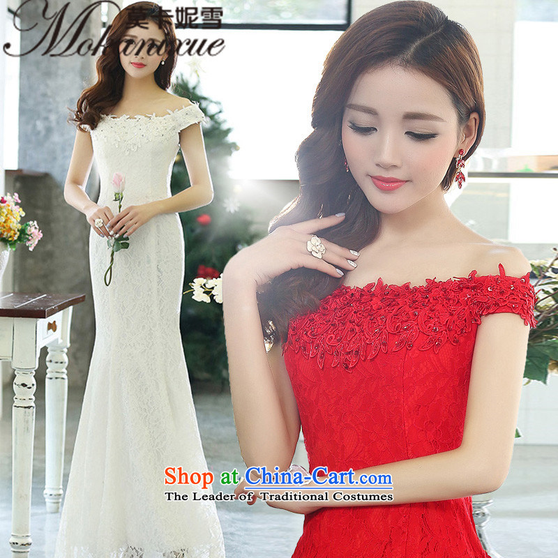 Morcar Connie snow?fall 2015 new women's shoulders a tail married women wedding Korean Foutune of Sau San video thin straps crowsfoot lace dresses nights at red?L