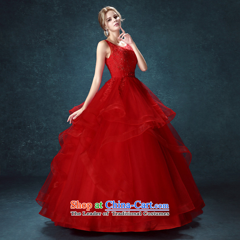 2015 Long one HUNNZ field shoulder straps bon bon skirt Korean style is simple and stylish bride Sau San wedding red�XXL