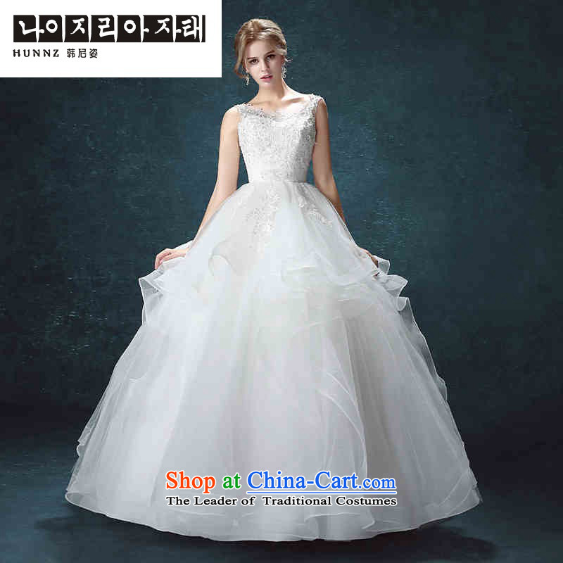 Hannizi 2015 stylish and simple word   shoulder straps Korean bon bon skirt bride wedding White聽XXL