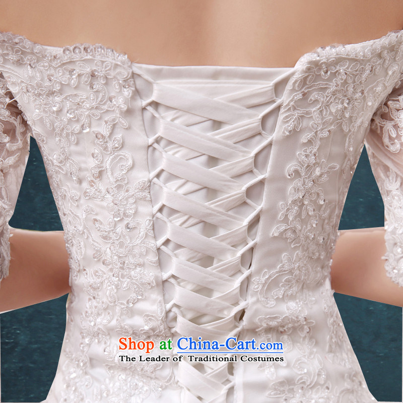 2015 Small tail HUNNZ slotted shoulder strap white palace style bride wedding minimalist Large White?XXL