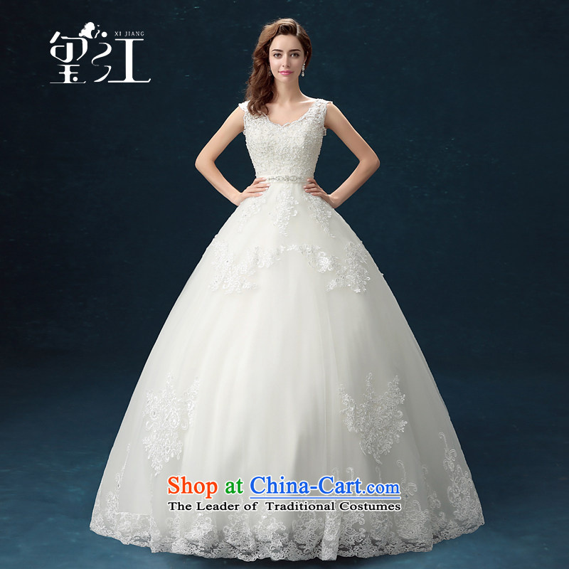 Jiang wedding dresses seal 2015 autumn and winter Korean shoulders wedding dress skirt girl brides white lace align to bind with bon bon skirt in Sau San waist wedding female white聽L