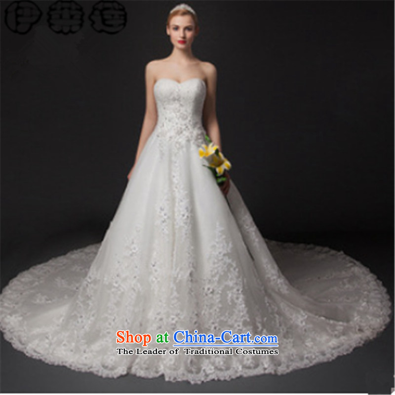 Hirlet Lin 2015 Autumn New) palace wedding Foutune of video large thin wedding dress Korean citizenry White gauze wedding gown nail-ju long tail Large and white?10 Code