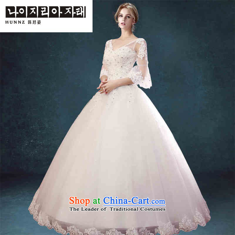 Hannizi 2015 stylish and simple Sau San lace V-Neck Korean bon bon skirt bride wedding White?XL
