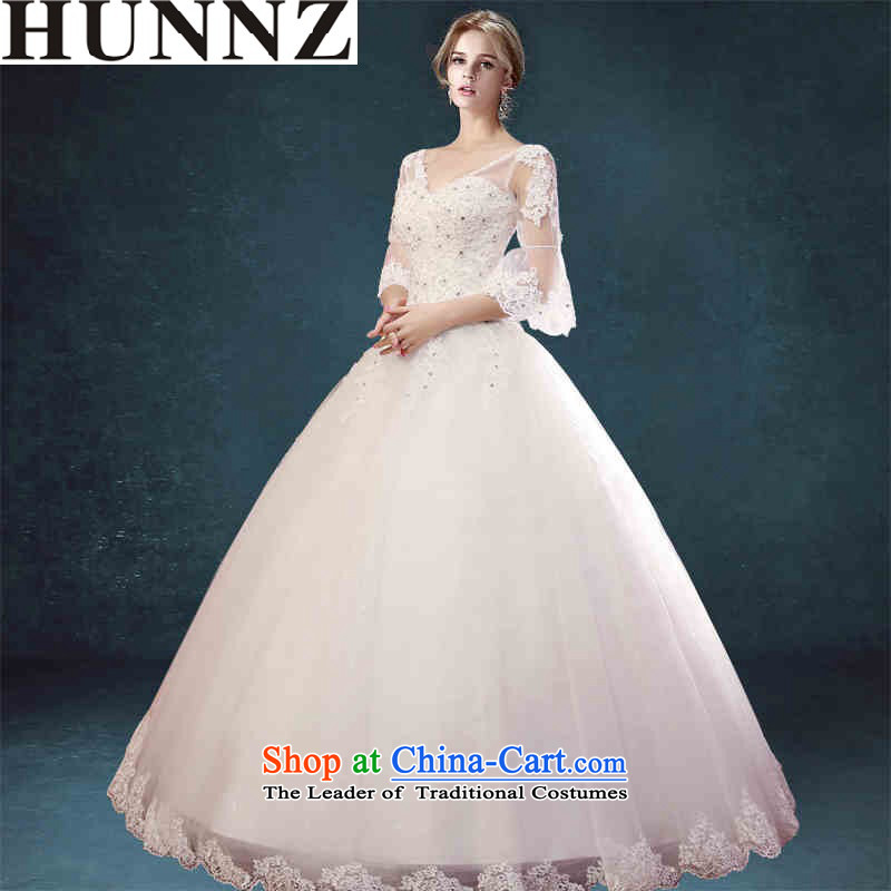Hunnz long 2015 V-Neck Strap bon bon skirt lace outdoor bride wedding large white yard White?XL