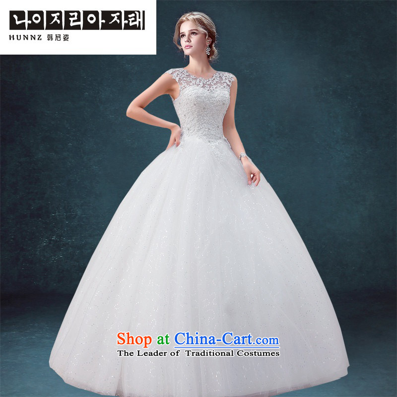 Hannizi 2015 stylish and simple elegance lace a Sau San field shoulder Princess Bride parties wedding dress White?XL
