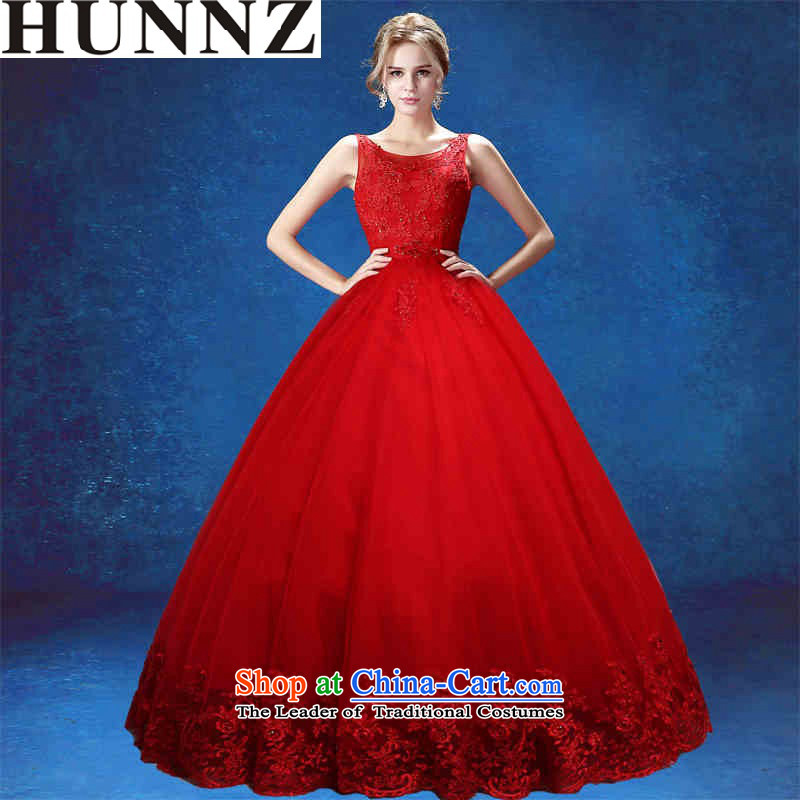 Hunnz long 2015 is simple and stylish palace style banding bon bon skirt V-Neck bride wedding red?S
