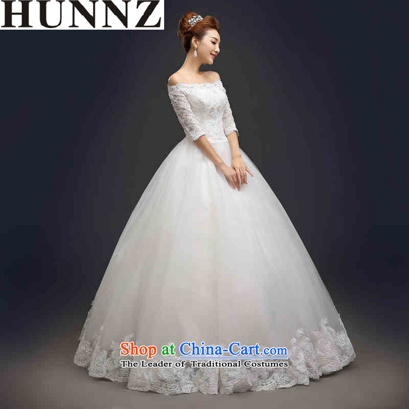 Hunnz long 2015 is simple and stylish with the word support princess skirt shoulder Korean brides wedding White?M