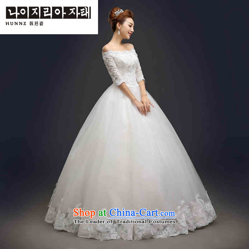 Hannizi 2015 stylish and simple large princess skirts Sau San lace the word support shoulder Korean brides wedding White?XXL
