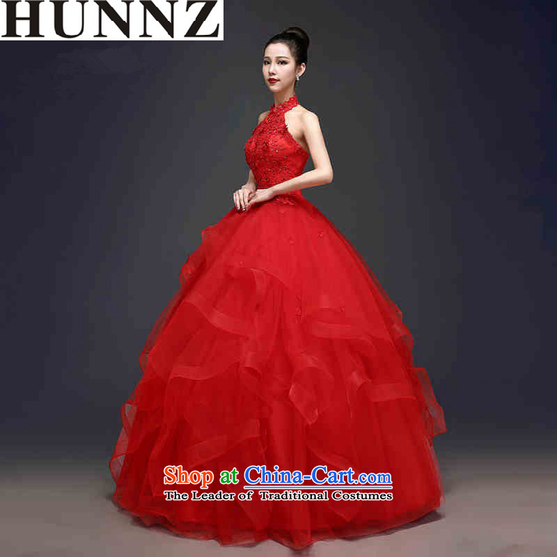 2015 Hang history HUNNZ trendy red bon bon skirt the strap is simple and stylish bride wedding red?L