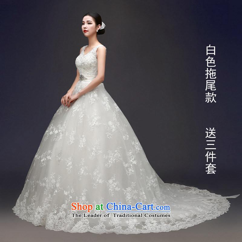 Hunnz long strap 2015 is simple and stylish large Korean Princess Bride wedding dress party white streak?L