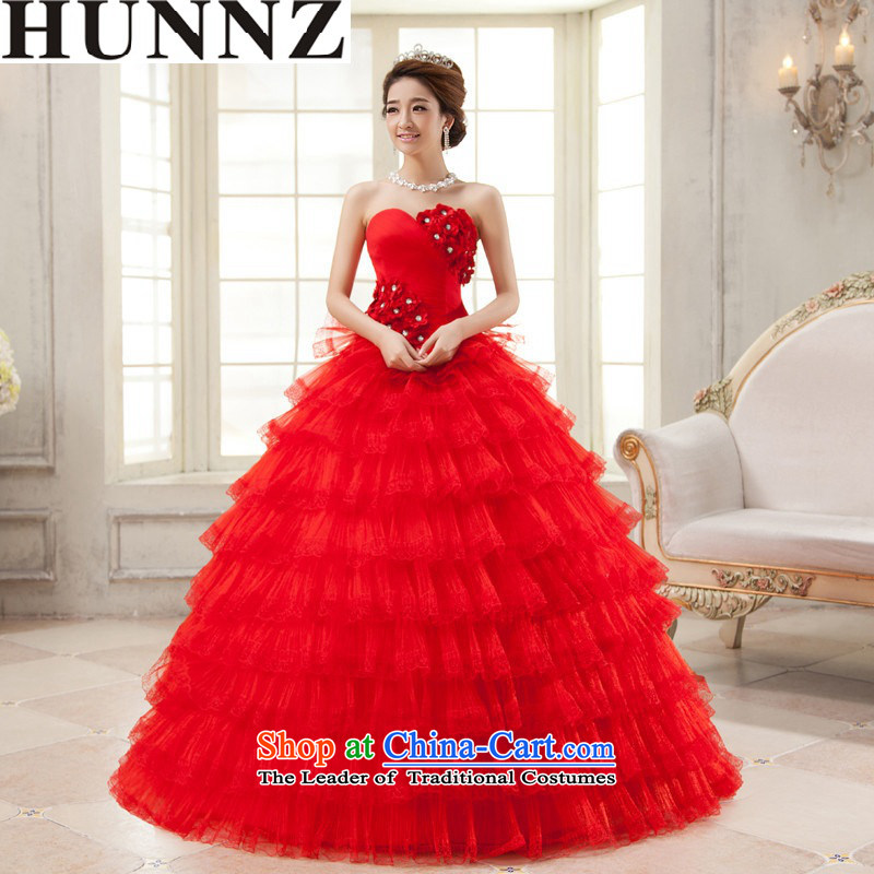 2015 Long wiped HUNNZ chest is simple and stylish large Sau San Tie Style Palace wedding red align bride to?S
