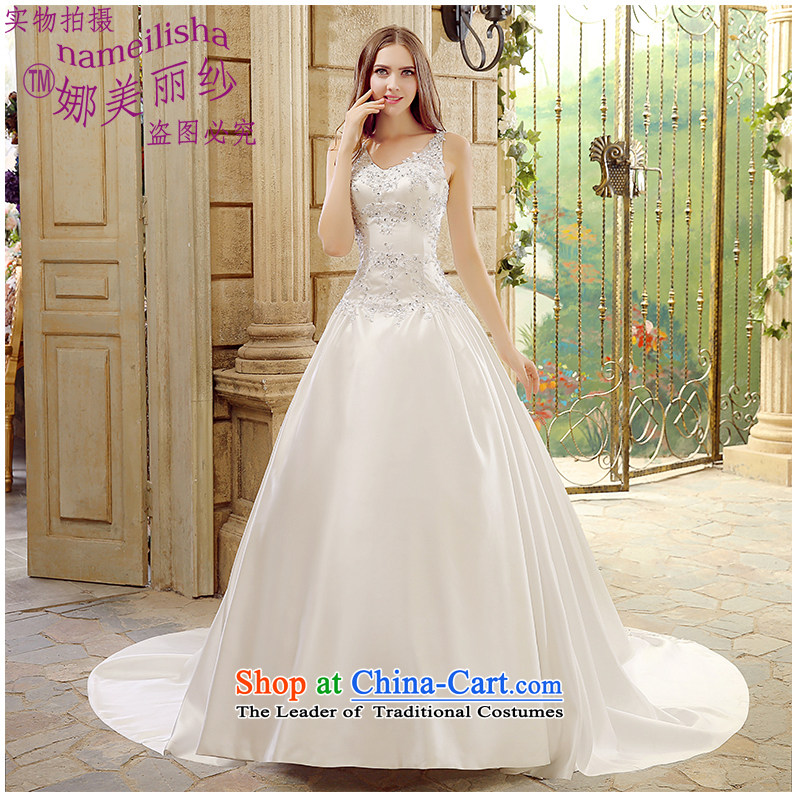 The beauty of the new shoulders tail wedding diamond atmospheric marriages wedding Hand-stitched pearl sexy back and the factory outlets for larger package mail White?XXL