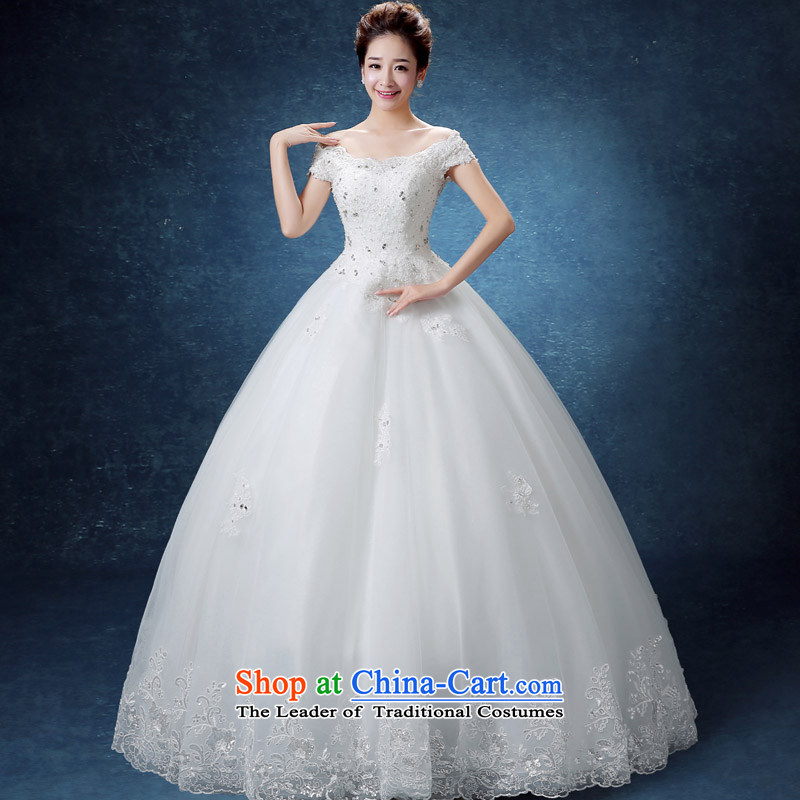 The knot True Love 2015 wedding dresses new Summer Wedding bride Korea pregnant women Layout Align to larger fields shoulder wedding autumn and winter White?M