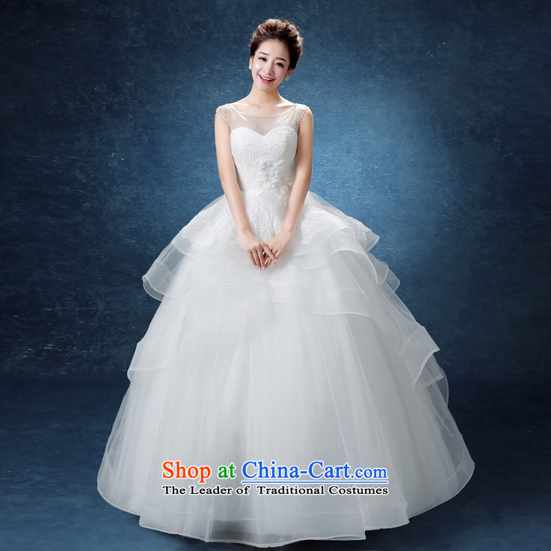 The knot true love wedding dresses in the summer and autumn of 2015 the new trendy first marriages field to align the shoulder lace minimalist Korean skirt White?M bon bon