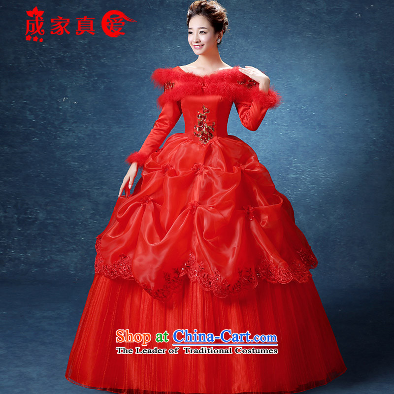 The knot true love Korean Style New 2015 Graphics thin winter wedding dress white long-sleeved cotton plus winter autumn and winter for the Korean version of the Winter Gross (red + 3-piece set?L