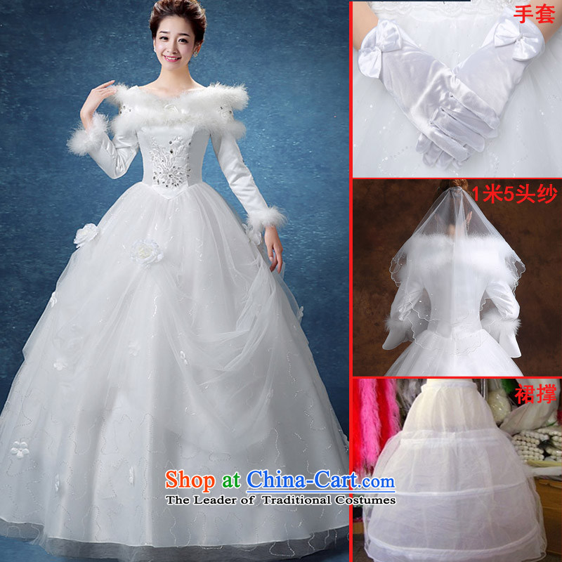 The knot true love winter straps wedding dresses 2015 New Korea long-sleeved pullover, align the gross for Code Red Winter) cotton bride thick white + 3-piece set?M