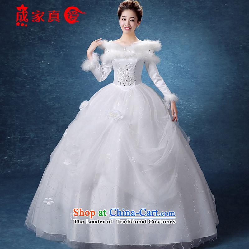 The knot true love winter straps wedding dresses 2015 New Korea long-sleeved pullover, align the gross for Code Red Winter) cotton bride thick white + 3-piece set L